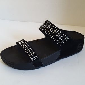 Fitflop Black Suede Wedge Slippers Size: 9